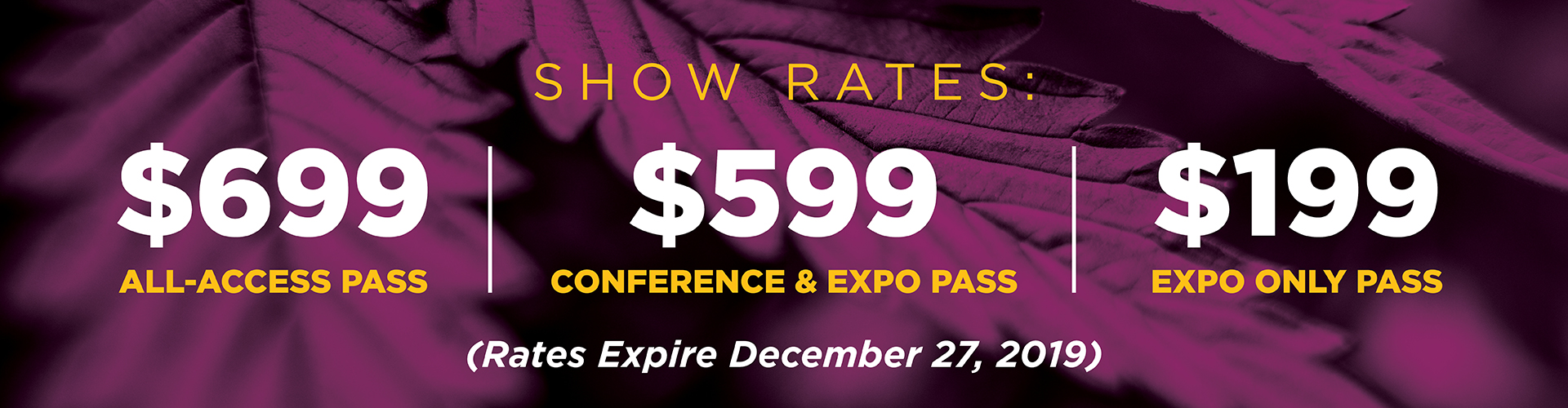 Cannabis Conference Pricing Slide