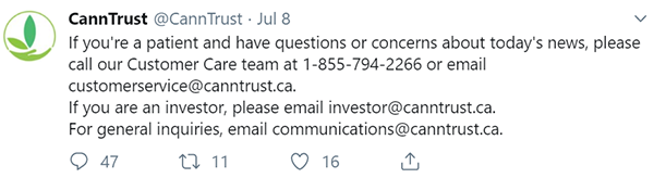 CannTrust message to medical cannabis patients Canada