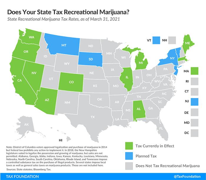 cannabis taxes map