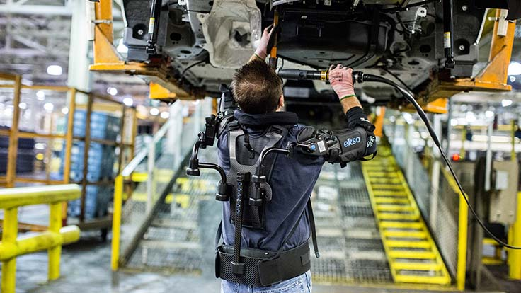 Ford pilot testing upper-body exoskeletons for above-the-head work
