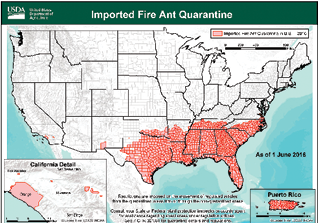 Ant ID Nursery Management - Map of where fire ants are found in the us