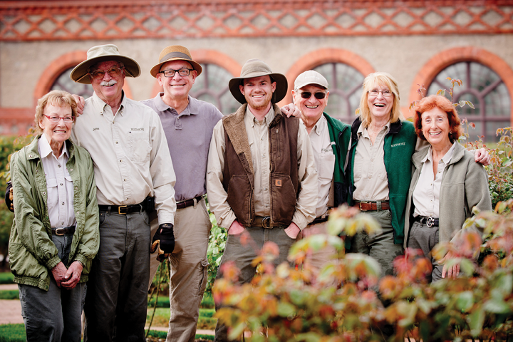 Biltmore rose garden crew, from left to right: Aileen Black, John Smith, Paul Zimmerman, Jon Parker, Duane Bateman, Kaye DeBona, and Joan Glacken.