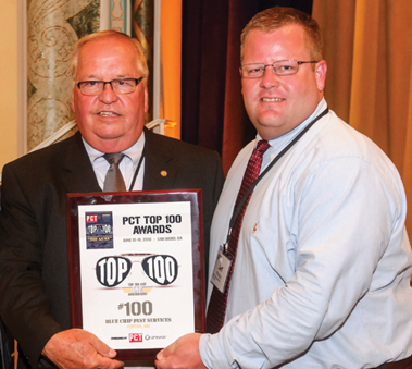 The #100 company, Blue Chip Pest Services, Fenton, Mo., was represented by Scott Phillips (left) and Jeff Phillips.