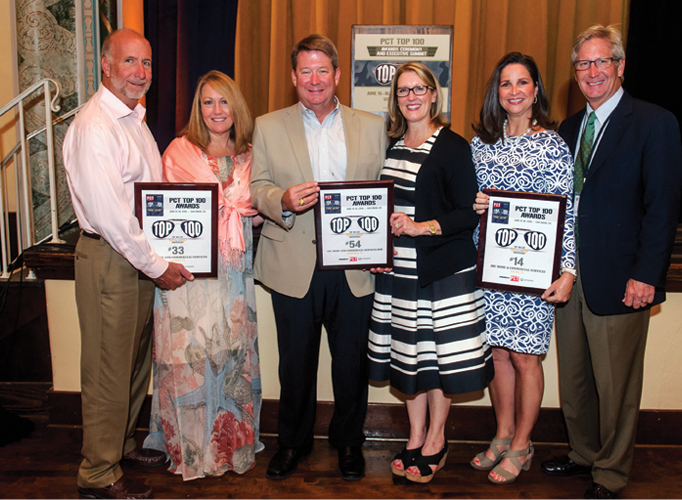 Raleigh and Kimberli Jenkins, ABC Home and Commercial Services, Cypress, Texas; Dennis and Jennifer Jenkins, ABC Home and Commercial Services of DFW, Lewisville, Texas; and Jan and Bobby Jenkins, ABC Home & Commercial Services, Austin, Texas, accept their awards.