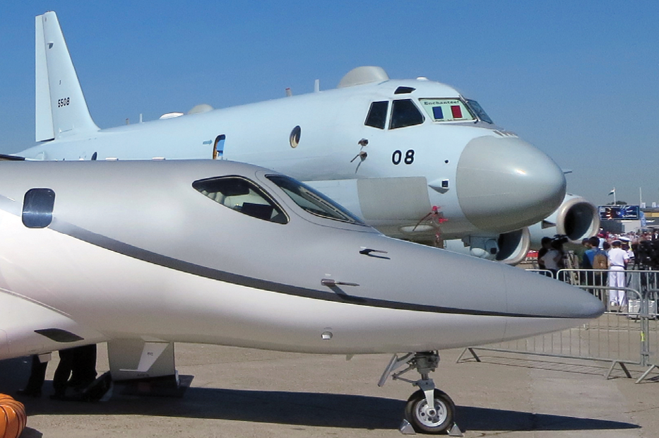 Japan's aerospace industry was represented in part by the sleek Hondajet business jet and Kawasaki Heavy Industries' P-1 maritime patrol aircraft.