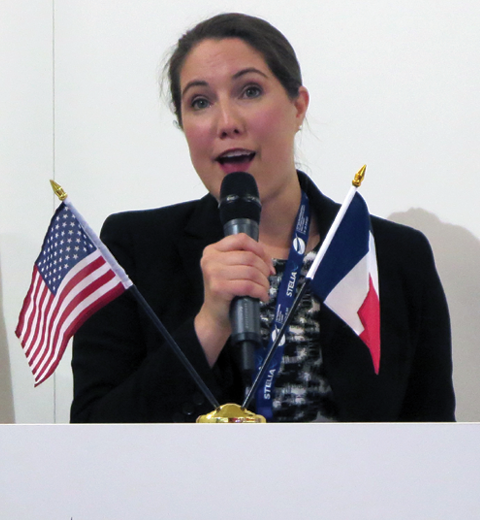 Christina Wills, supplier development, Boeing Commercial Airplanes, at the USA Pavilion Forum.