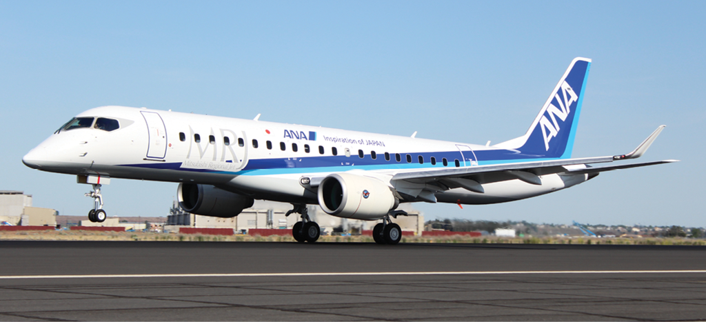 Mitsubishi Regional Jet (MRJ) flight test article 3 made its European debut on static display at Paris. Photo: Mitsubishi Aircraft Corp.