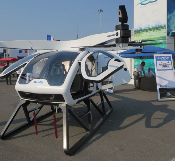 Workhorse Group's Surefly personal octocopter is designed to carry two passengers up to 70 miles at up to 70mph.